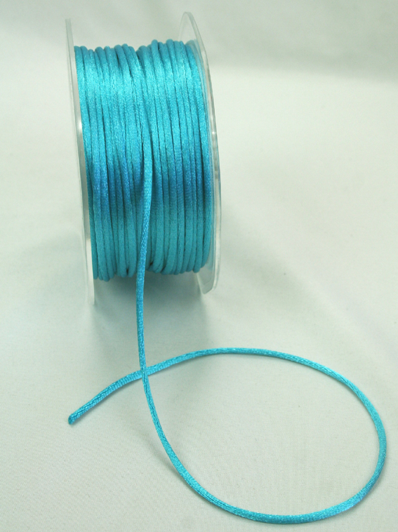 2mm Satin Rat Tail Cord 50m roll Turquoise