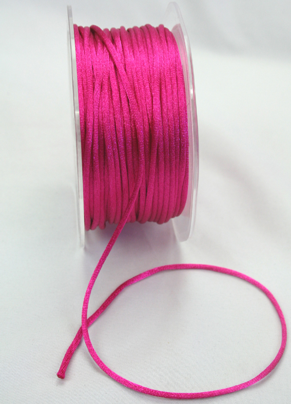 2mm Satin Rat Tail Cord 50m roll Hot Pink