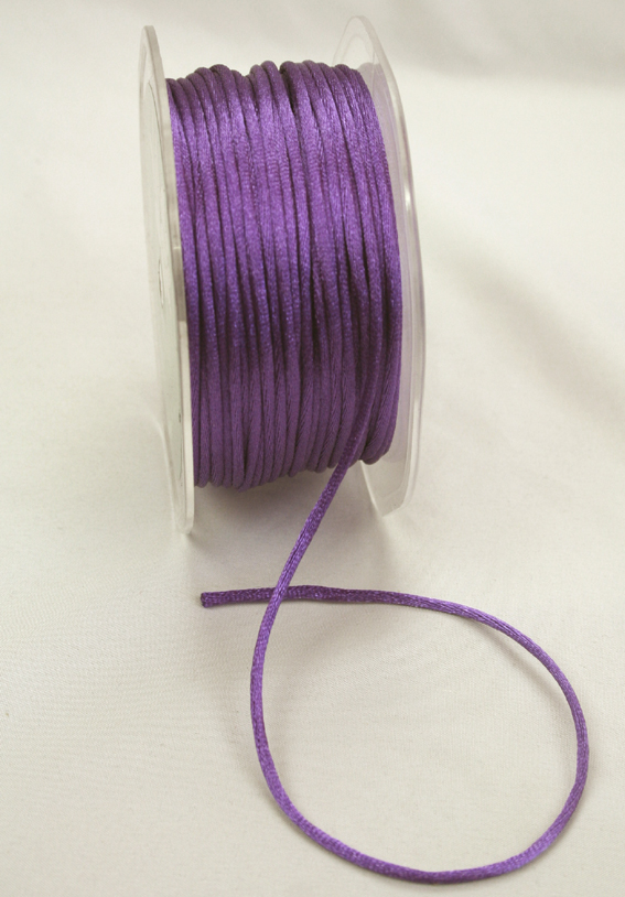 2mm Satin Rat Tail Cord 50m roll Purple