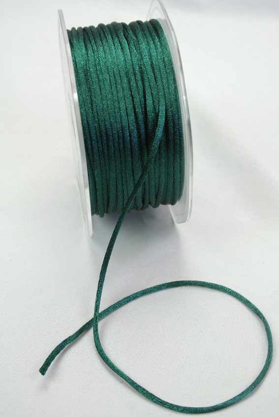2mm Satin Rat Tail Cord 50m roll Emerald