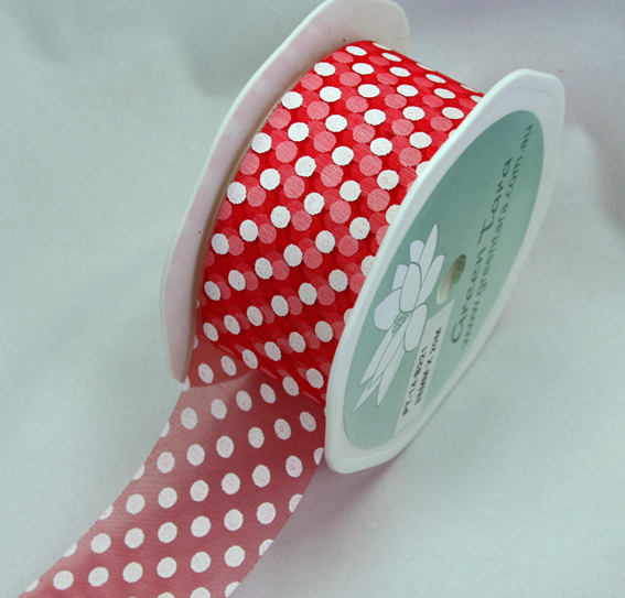 38mm Polka Dot Organza 20m Roll Red