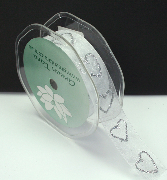25mm Glitter Organza Hearts 25m Roll White/Silver