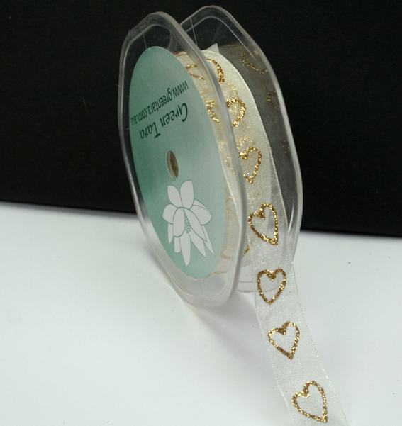 15mm Glitter Organza Hearts 25m Roll Ivory/Gold
