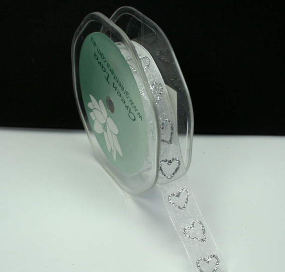 15mm Glitter Organza Hearts 25m Roll White/Silver