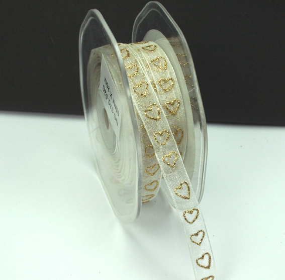 9mm Glitter Organza Hearts 25m Roll Ivory/Gold