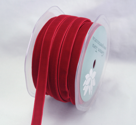 9mm Velvet 20m Roll Red