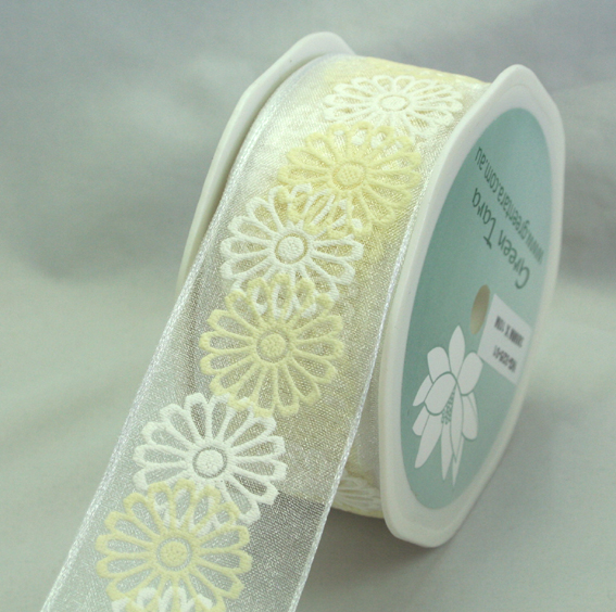38mm Organza Flower Wire Edged 10m Roll White