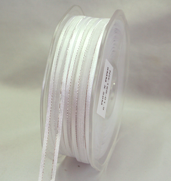 9mm Satin Metallic Edged Organza 50m Roll White/Silver