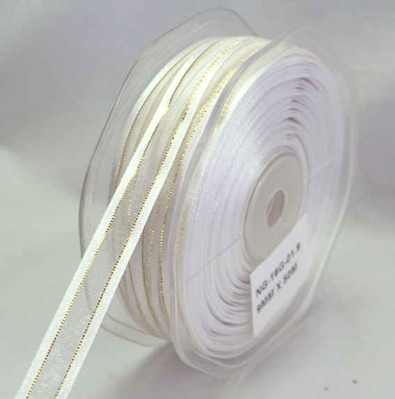 9mm Satin Metallic Edged Organza 50m Roll White/Gold