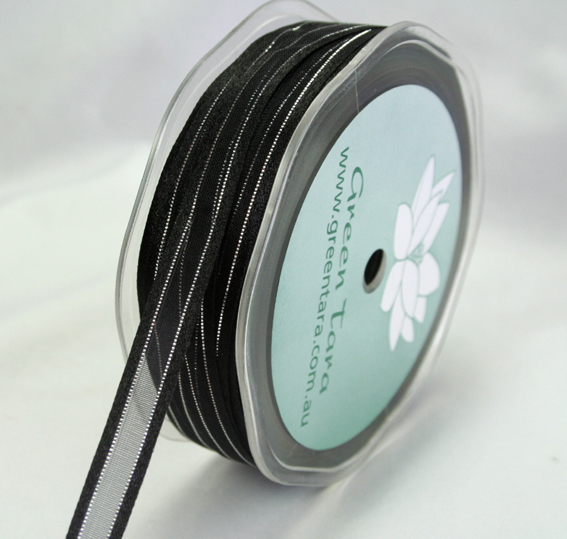 9mm Satin Metallic Edged Organza 50m Roll Black/Silver