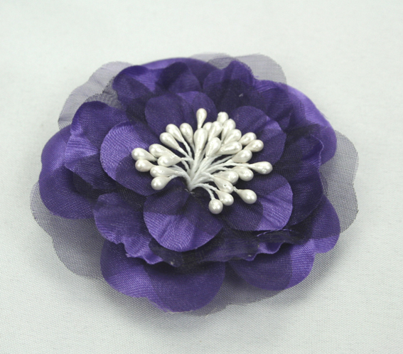 Heirloom 6.5cm Silk and Organza Flowers 12 pcs Purple