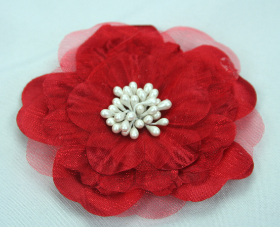 Heirloom 6.5cm Silk and Organza Flowers 12 pcs Red