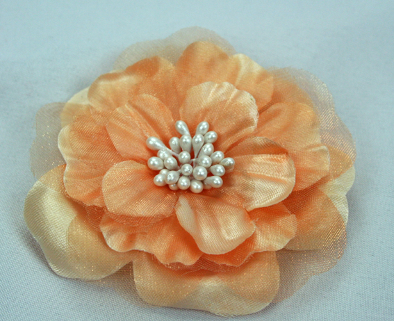 Heirloom 6.5cm Silk and Organza Flowers 12 pcs Latte