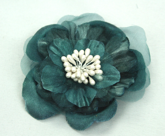 Heirloom 6.5cm Silk and Organza Flowers 12 pcs Teal