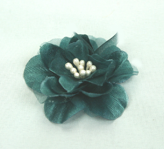 Heirloom 4cm Silk and Organza 12pcs Teal