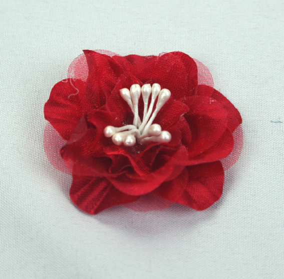 Heirloom 4cm Silk and Organza 12pcs Red