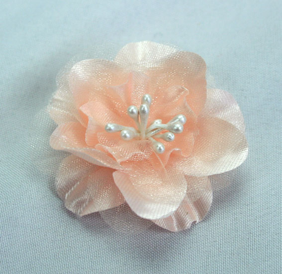 Heirloom 4cm Silk and Organza 12pcs Peach