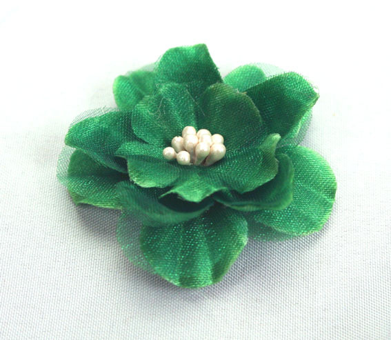 Heirloom 4cm Silk and Organza 12pcs Green