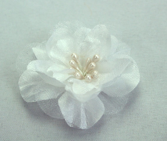 Heirloom 4cm Silk and Organza 12pcs White