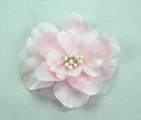 Heirloom 4cm Silk and Organza 12pcs Pale Pink