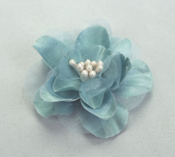 Heirloom 4cm Silk and Organza 12pcs Grey Blue