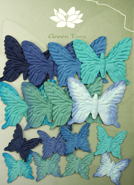 *NEW*16 Embossed Butterflies, Blue