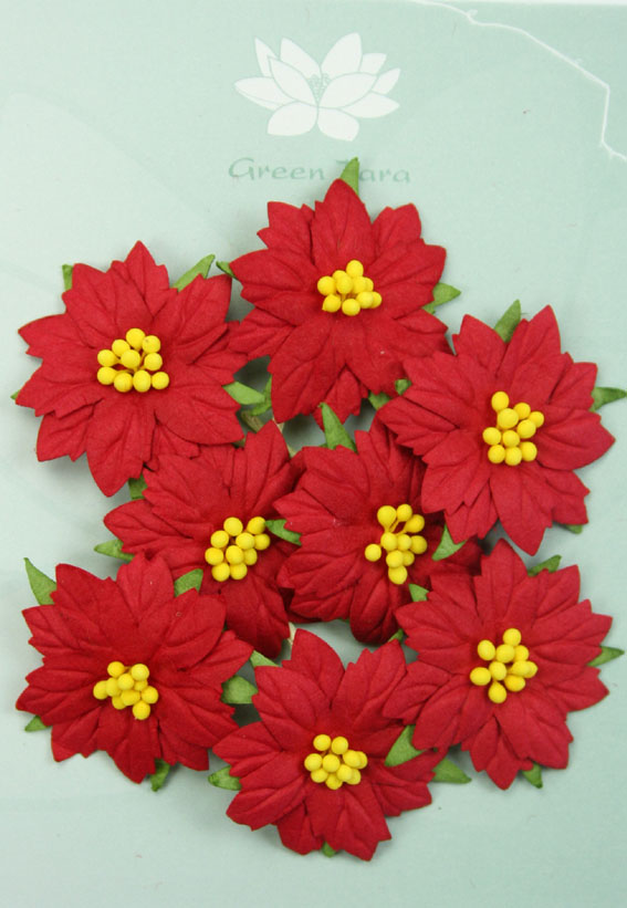 8 Medium Red Poinsettias Yellow Centres
