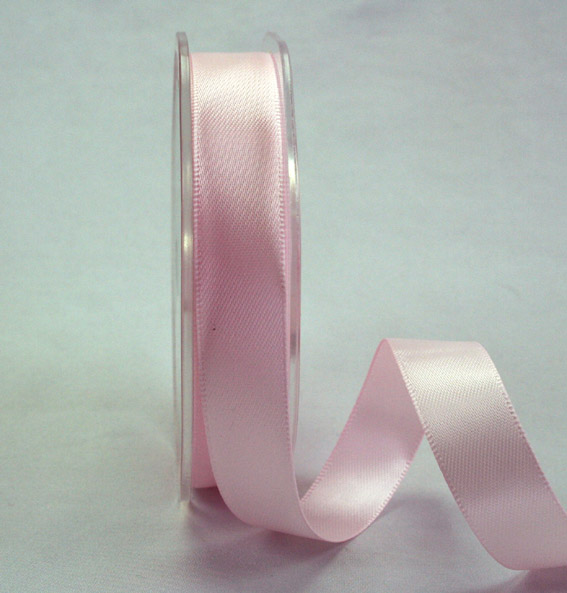 15mm Double Sided Satin Ribbon 25m Pale Pink