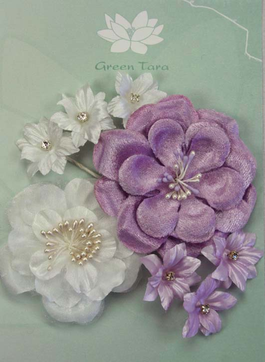 Fabric Flowers Lavender White pack