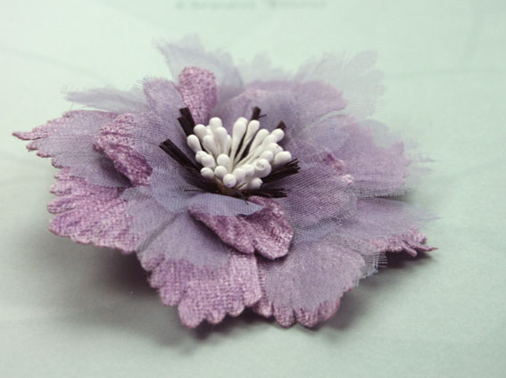 Damask 8cm Fabric and Organza Flower Lavender 12 pcs
