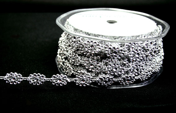 10mm Oval Silver Diamante Trim 10m
