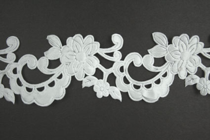 Satin Flower Garland, White