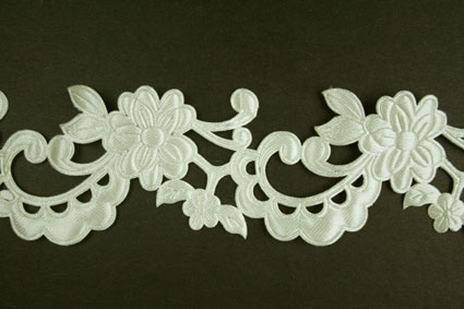 Satin Flower Garland, Cream