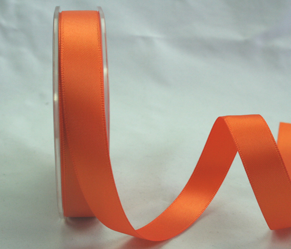 15mm Double Sided Satin Ribbon 25m Tangerine