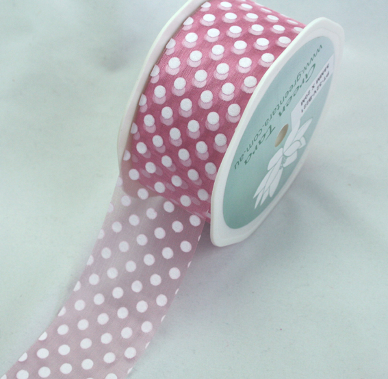38mm Polka Dot Organza 20m Roll Pink