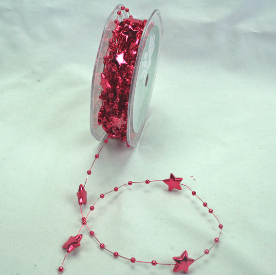 15mm Christmas Stars on Wire 10m Roll Fuchsia