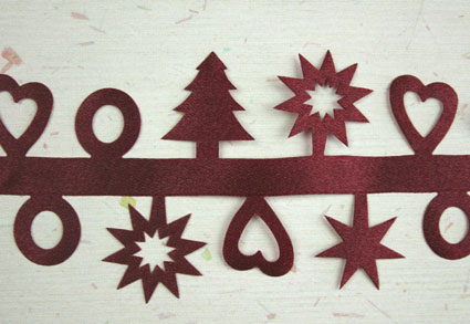 Satin Xmas Shapes, Burgundy