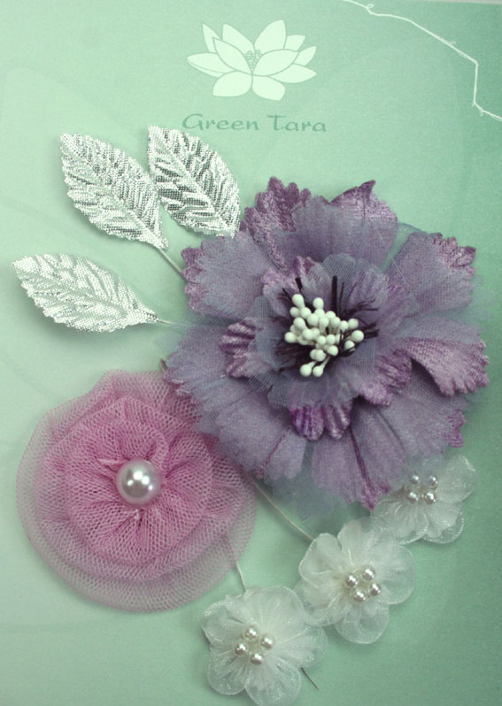 Fabric Flowers Lavender Damask