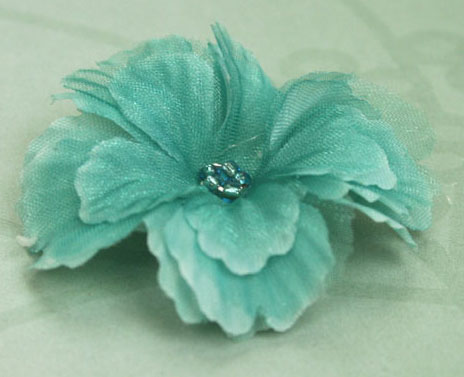 Primula 4.5cm Silk and Organza Flowers 12 pcs Turquoise