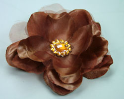 *NEW* Wild Rose 7cm Silk and Organza Flower 12 pcs Brown