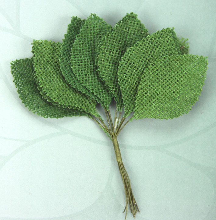 6.5cm Burlap Leaves 1 Bunch of 12 Green