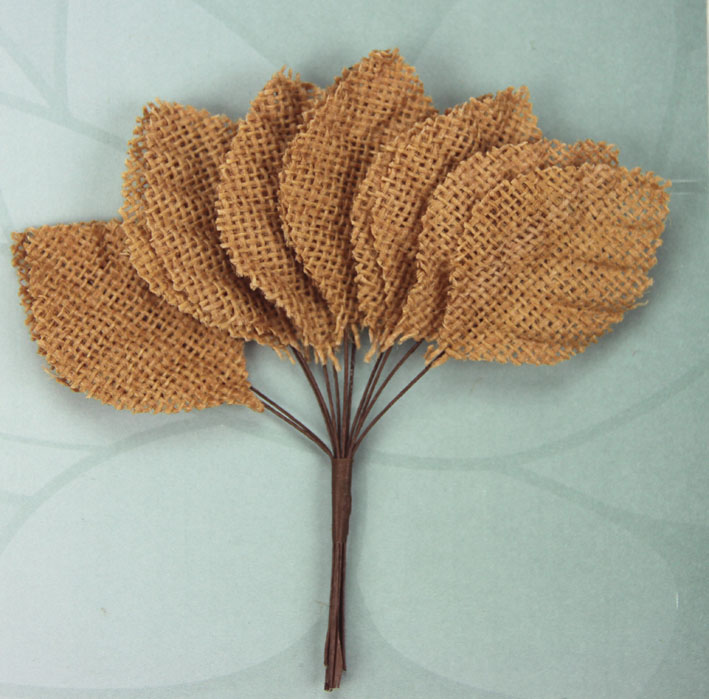 6.5cm Burlap Leaves 1 Bunch of 12 Brown