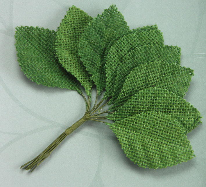 6.5cm Burlap Leaves 12 Bunches of 12 Green