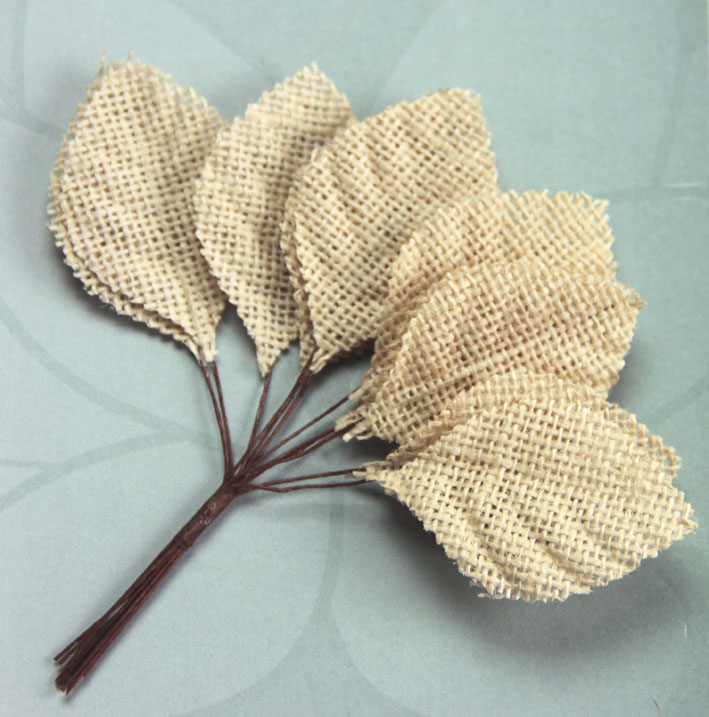 6.5cm Burlap Leaves 12 Bunches of 12 Natural
