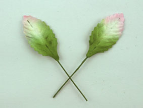 100 Paper Leaves 2.9cm  Pink/Green/White