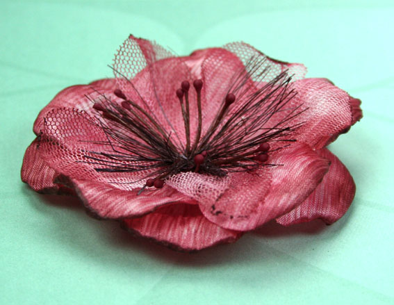 Laurel 8cm Silk and Organza Flowers Burgundy/Red 12 pcs