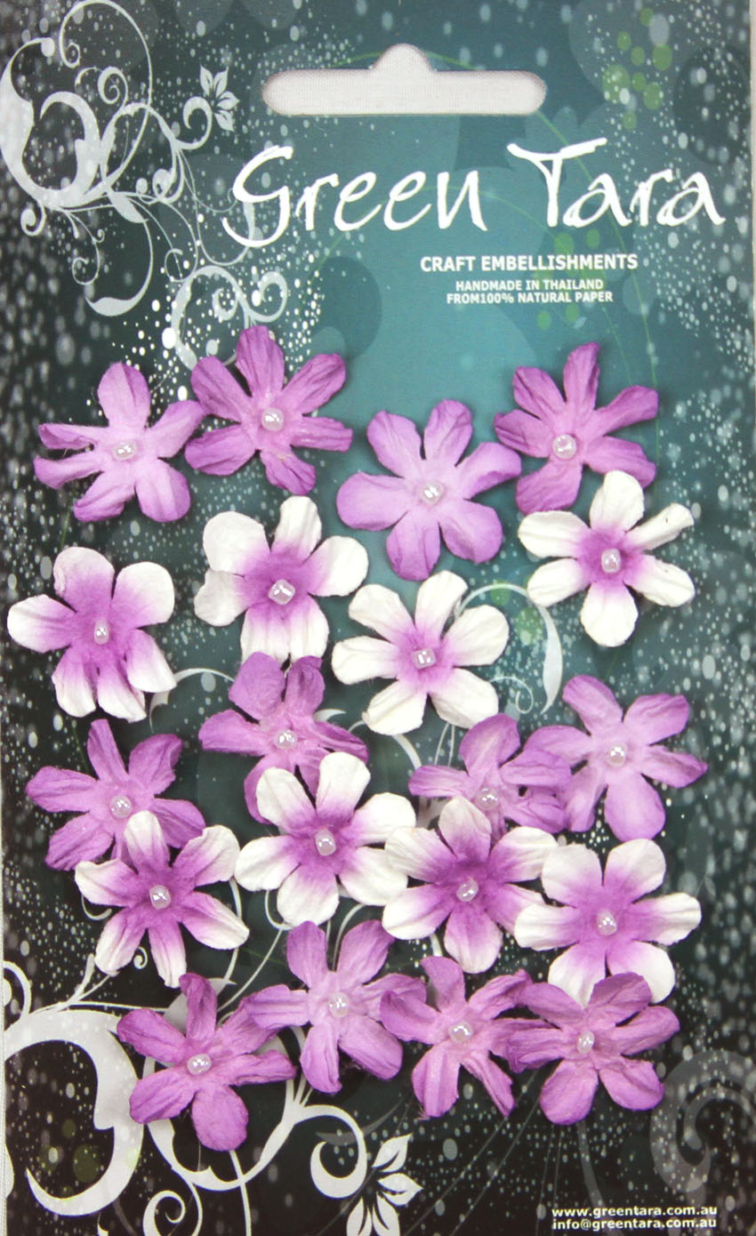 Pack 20 Mini Flowers, Lavender Tones 22mm