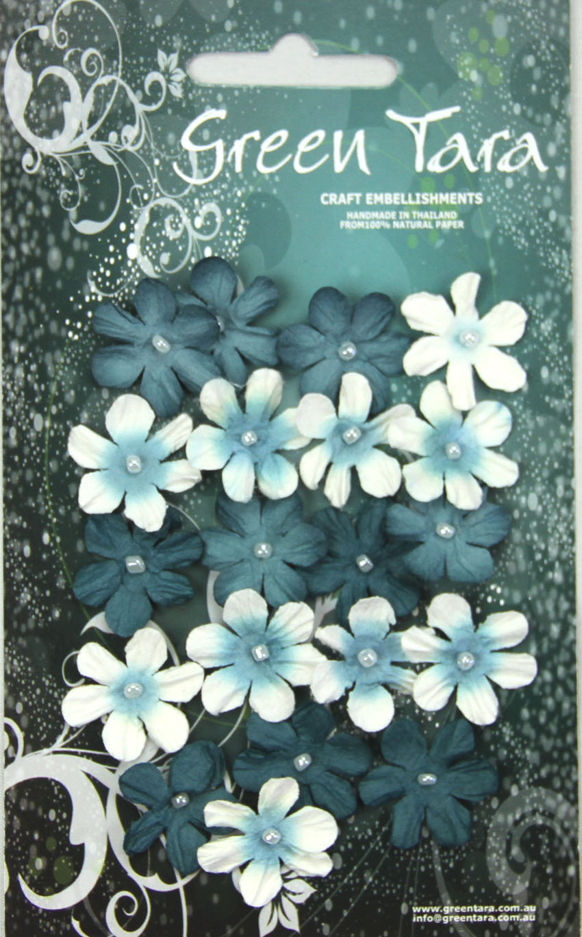 Pack 20 Mini Flowers, Teal Tones 22mm