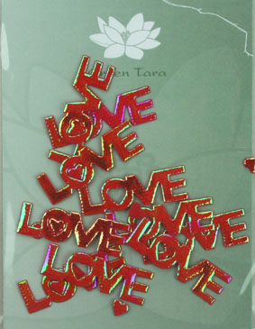 "Pack of 10 iridescent ""Love"", Red. Width 4 cm"