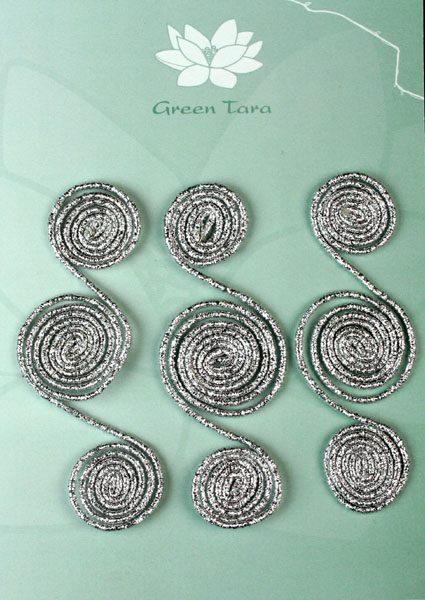 Metallic Wire Swirls, Silver Pack of 3